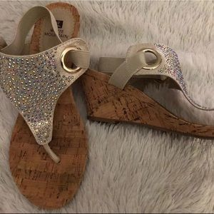 Cork Wedge Slingsback Gray Fabric Rhinestone